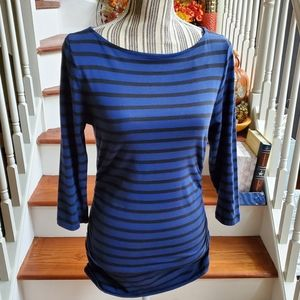 Michael Kors Striped Blue Ruched Shirt Size M